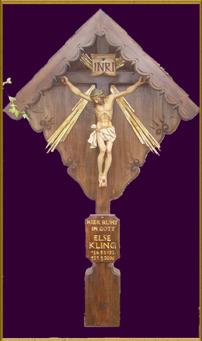 Baroque grave cross made of oak with a halo of gold